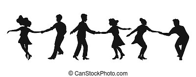 Set of silhouettes couple dancing swing, rock or lindy hop. Retro in flat style hand drawn. Disc cover, social network, dance competition, illustration of dance courses. Clip art people dancing isolated. Black silhouettes on a white background