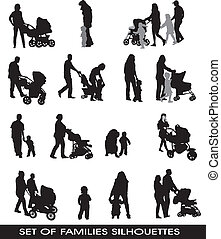 families, parents and children - set of silhouettes...