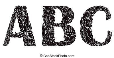 Set of silhouettes freehand drawing capital letters with floral doodle pattern. Abc. Vector element for your design