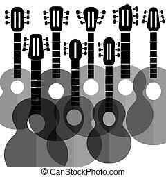 Silhouettes Guitars - Set of Silhouettes Guitars Isolated on...