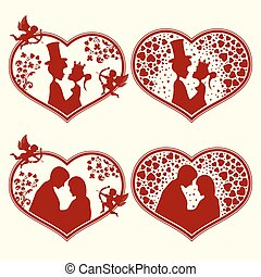Set of silhouettes hearts