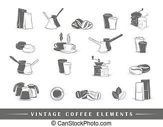 Retro coffee elements