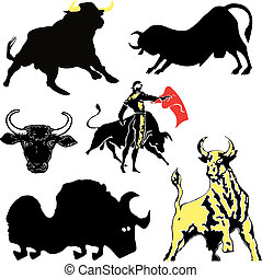Set of silhouettes of a bull