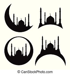 Set of silhouettes of a mosque. Eid al Adha.