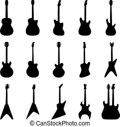 Set of silhouettes of acoustic guitars, electric guitars, bass guitars, vector illustration