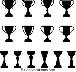 Set of silhouettes of award cups and trophies, vector illustration