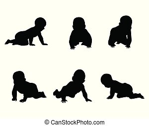 Set of silhouettes of babies