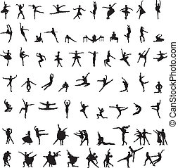 set of silhouettes of ballet dancer - men, women and couples...