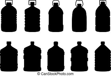 Set of silhouettes of big water bottles, vector illustration