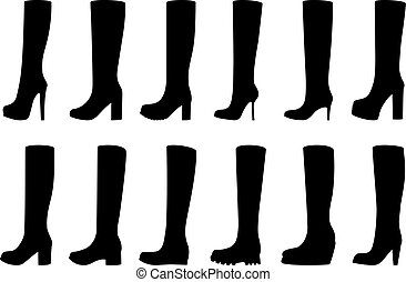 Set of silhouettes of boots, vector illustration