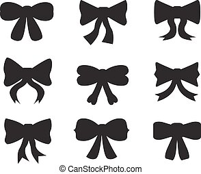 Set of silhouettes of bows