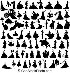 set of silhouettes of brides