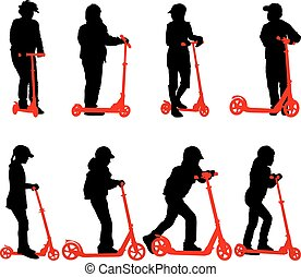 Set of silhouettes of children riding on scooters. Vector illust