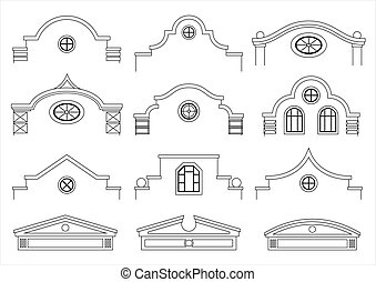 Set of silhouettes of classical facades