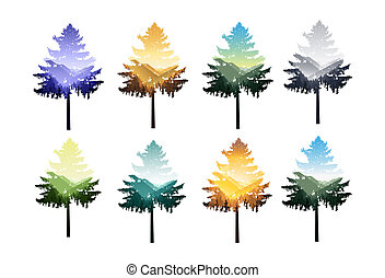 Set of silhouettes of coniferous trees with panorama of mountains.