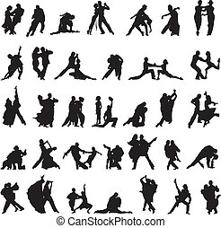 set of silhouettes of couples danci