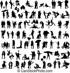 set of silhouettes of couples
