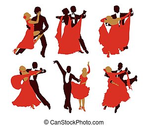 set of silhouettes of dancing couples. vector silhouettes