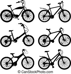 Set of silhouettes of different bikes. Vector illustration.