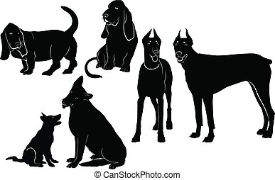 set of silhouettes of dogs