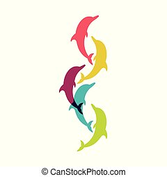 Dolphin. Vector silhouette on a white background. - Set of...