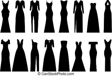 Set of silhouettes of evening dresses, vector illustration