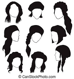 silhouettes of female heads in berets