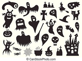 Set of silhouettes of Halloween on a white background. Vector illustration.