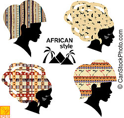 Set of silhouettes of heads of African women