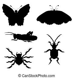 Set of silhouettes of insects. vector illustration. Drawing by hand.