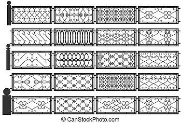 Set of silhouettes of iron fences.