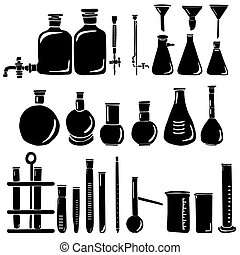 Set of silhouettes of laboratory glassware, flasks, test tubes, bottles, burettes, measuring glasses and cylinders, watering cans and pipette, laboratory research and experiments