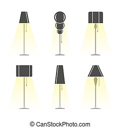 Set of silhouettes of lamps emitting light