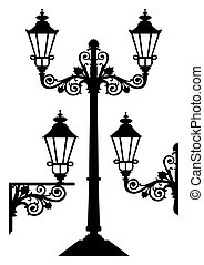 Vector silhouettes, illustration of antique street lamp isolated on white, full scalable vector graphic.