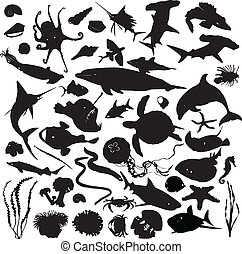 set of silhouettes of marine inhabi
