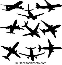 Set of silhouettes of planes from different eras on a white background