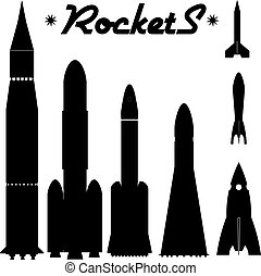 Set of silhouettes of rockets