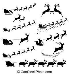 Set of silhouettes of Santa Claus in harness riding reindeer