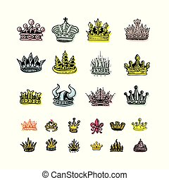 Set of silhouettes of stylized images of the crown