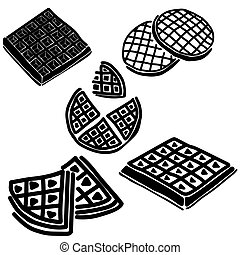 Set of silhouettes of sweet pastry waffles of various shapes...