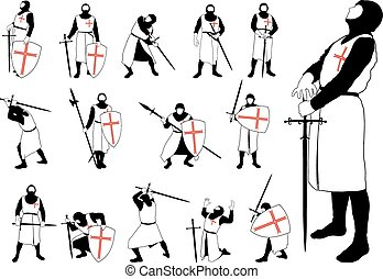 Set of silhouettes of the Crusader