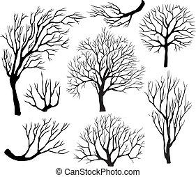 Set of silhouettes of trees on a black background