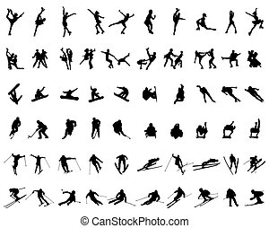 Set of silhouettes of winter sports