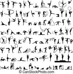 set of silhouettes Rhythmic Gymnast