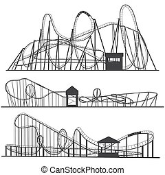 Set of silhouettes Roller coaster. Rollercoaster or...