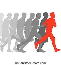 Set of silhouettes. Runners on sprint, men vector illustration.