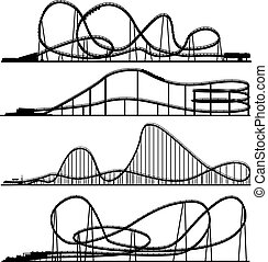 Set of vector silhouettes roller-coaster from amusement park.