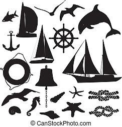 set of silhouettes symbolizing the
