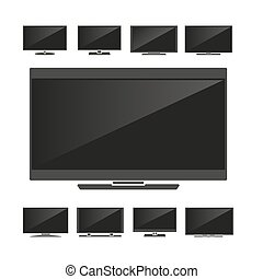 Set of silhouettes TV isolated on white background. Vector...