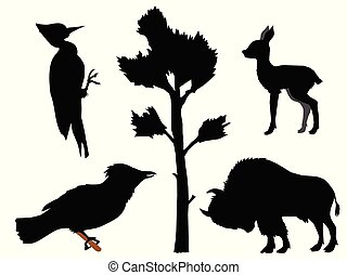 Set of silhouettes with different kinds of animals. Motives of wood, nature, wildlife, European forest . Buffalo, deer cub, woodpecker, jay
